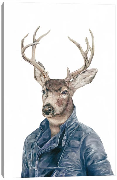 Deer In Navy Blue Canvas Art Print