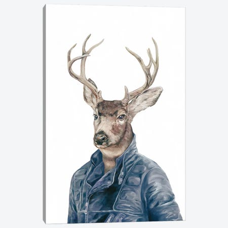 Deer In Navy Blue Canvas Print #ACR10} by Animal Crew Canvas Artwork