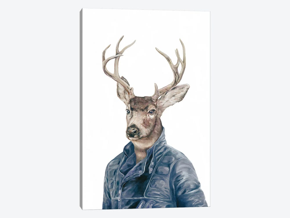 Deer In Navy Blue by Animal Crew 1-piece Canvas Art Print