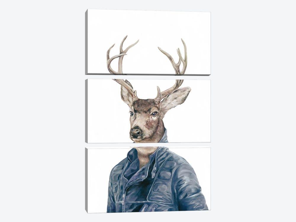 Deer In Navy Blue by Animal Crew 3-piece Canvas Art Print