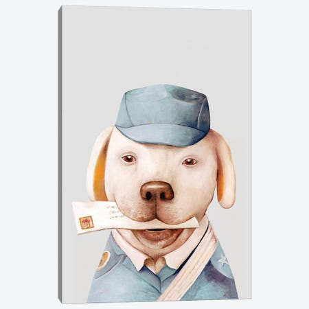 Delivery Dog Canvas Print #ACR11} by Animal Crew Canvas Wall Art