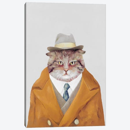 Detective Cat Canvas Print #ACR12} by Animal Crew Canvas Art