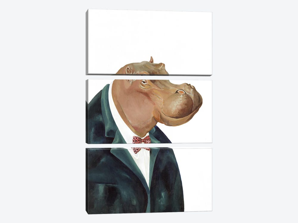 Hippopotamus by Animal Crew 3-piece Canvas Art
