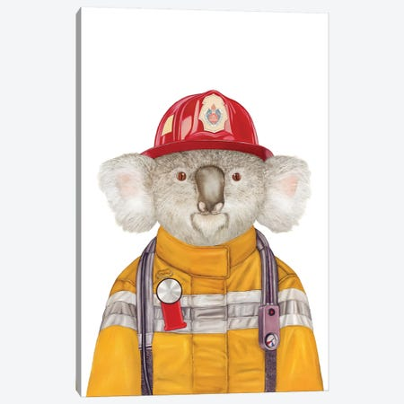 Koala Firefighter Canvas Print #ACR28} by Animal Crew Canvas Print