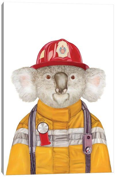 Koala Firefighter Canvas Art Print
