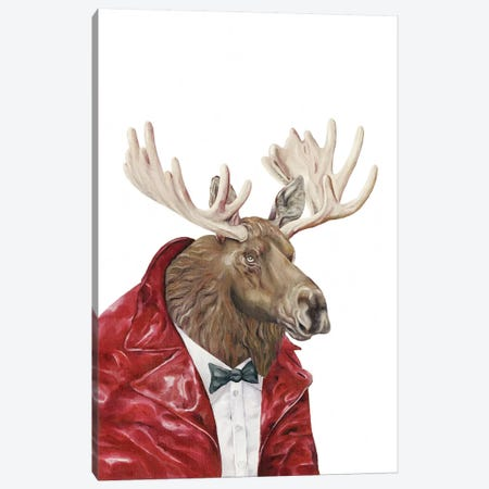 Moose In Leather Canvas Print #ACR33} by Animal Crew Canvas Artwork