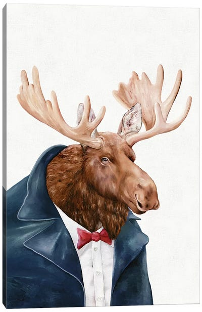 Moose In Navy Blue Canvas Art Print
