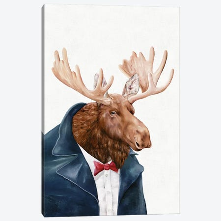 Moose In Navy Blue Canvas Print #ACR34} by Animal Crew Canvas Print