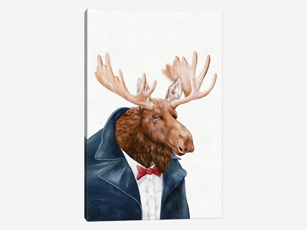 Moose In Navy Blue by Animal Crew 1-piece Canvas Print