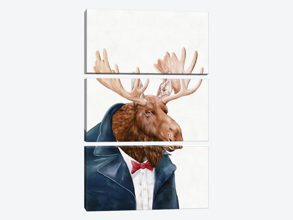 Moose In Navy Blue by Animal Crew 3-piece Canvas Art Print