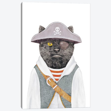 Pirate Cat Canvas Print #ACR38} by Animal Crew Canvas Wall Art