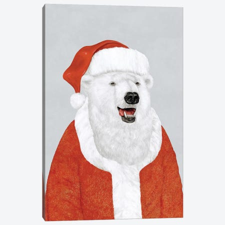 Polar Bear Santa Canvas Print #ACR39} by Animal Crew Canvas Artwork