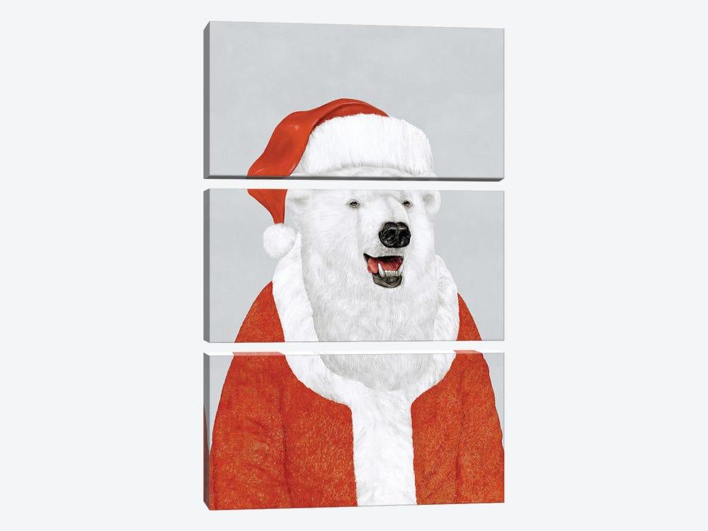 Polar Bear Santa by Animal Crew 3-piece Canvas Wall Art