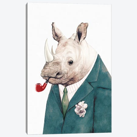 Rhino Green Suit Canvas Print #ACR44} by Animal Crew Canvas Art