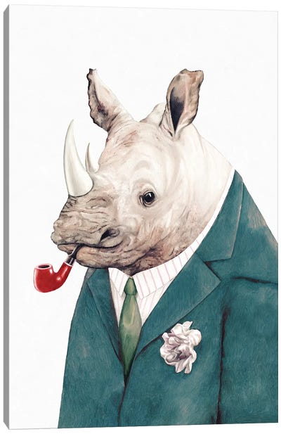 Rhino Green Suit Canvas Art Print