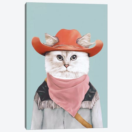Rodeo Cat Canvas Print #ACR47} by Animal Crew Canvas Artwork
