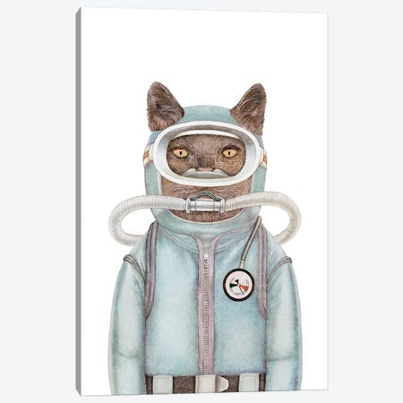 Scuba Cat Canvas Print #ACR49} by Animal Crew Art Print