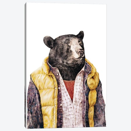 Black Bear Gold Canvas Print #ACR4} by Animal Crew Canvas Art Print