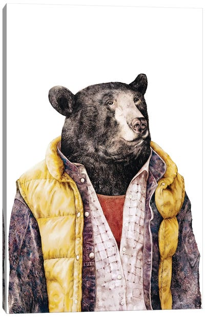 Black Bear Gold Canvas Art Print