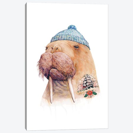 Tattooed Walrus Canvas Print #ACR51} by Animal Crew Canvas Wall Art