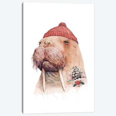 Tattooed Walrus Red Canvas Print #ACR52} by Animal Crew Canvas Art