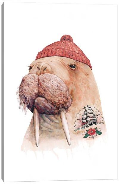 Tattooed Walrus Red Canvas Art Print