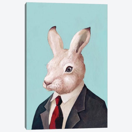 White Rabbit Canvas Print #ACR56} by Animal Crew Canvas Print