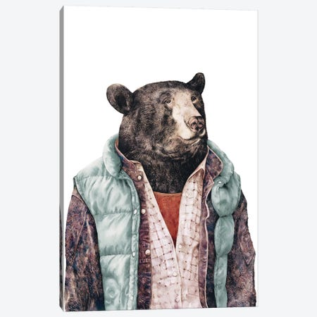 Black Bear Green Canvas Print #ACR5} by Animal Crew Art Print