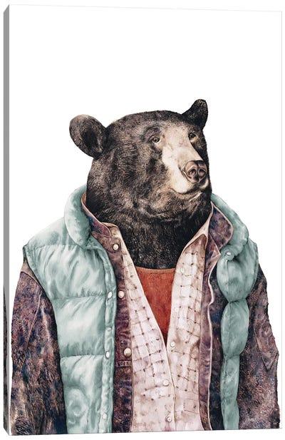 Black Bear Green Canvas Art Print