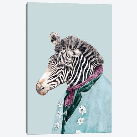 Zebra Blue Canvas Print #ACR61} by Animal Crew Art Print