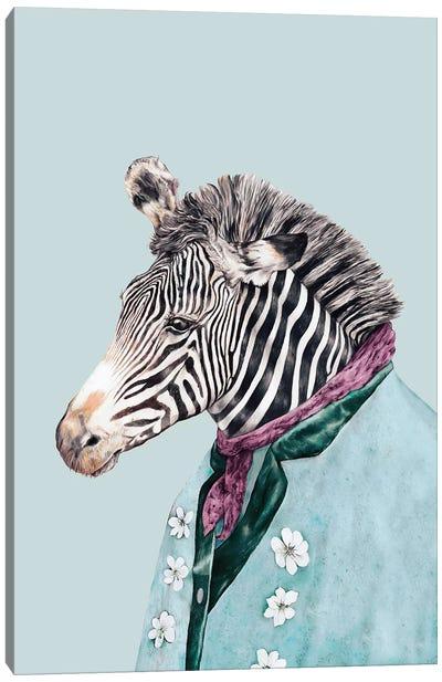 Zebra Blue Canvas Art Print