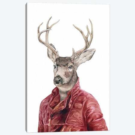 Deer In Leather Canvas Print #ACR9} by Animal Crew Canvas Artwork