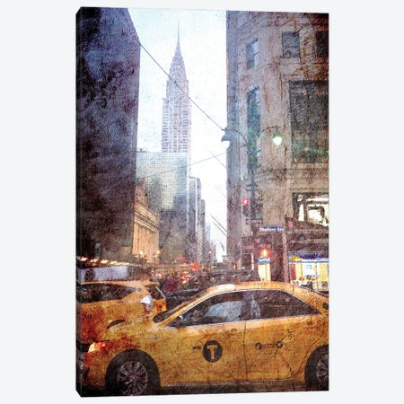 Rainy Madison Avenue Canvas Print #ACT18} by Acosta Canvas Artwork