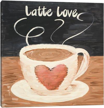 Latte Love Square Canvas Art Print