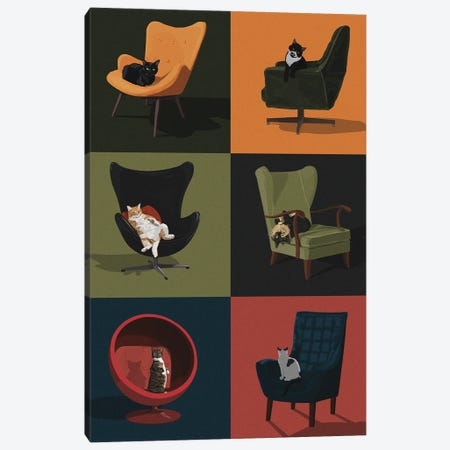 Cats In Chairs Canvas Print #ACU14} by Artcatillustrated Canvas Artwork