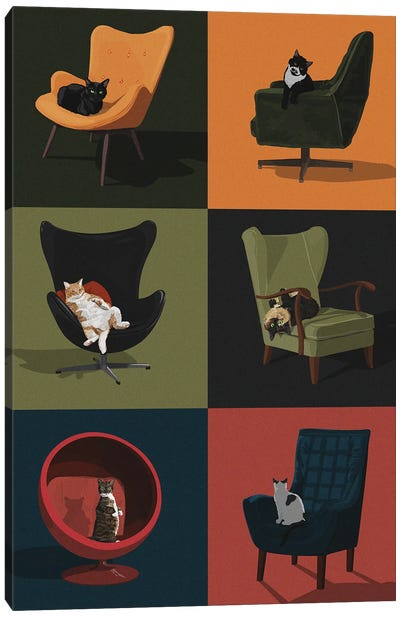 Cats In Chairs Canvas Art Print
