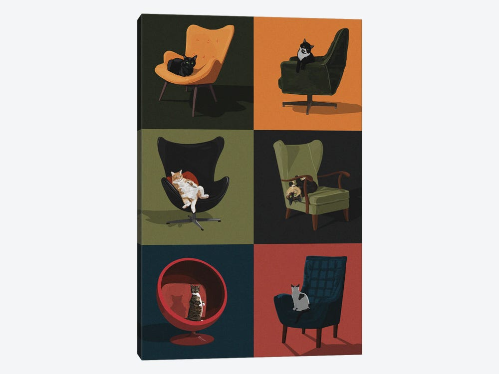Cats In Chairs by Artcatillustrated 1-piece Canvas Wall Art