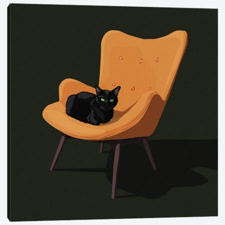 Cats In Chairs III Canvas Print #ACU15} by Artcatillustrated Canvas Art