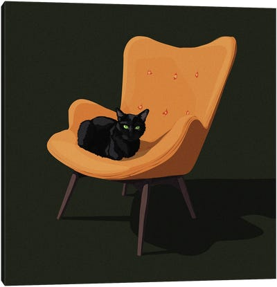 Cats In Chairs III Canvas Art Print