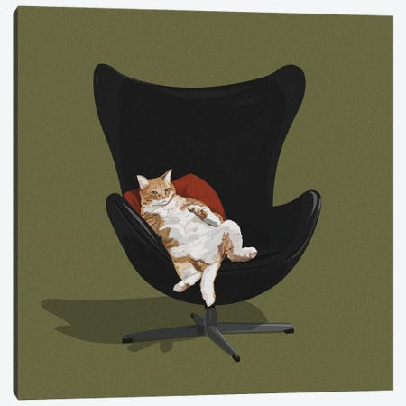 Cats In Chairs IV Canvas Print #ACU16} by Artcatillustrated Canvas Art