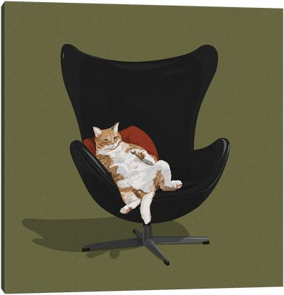 Cats In Chairs IV Canvas Art Print