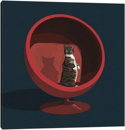 Cats In Chairs VI Canvas Art Print