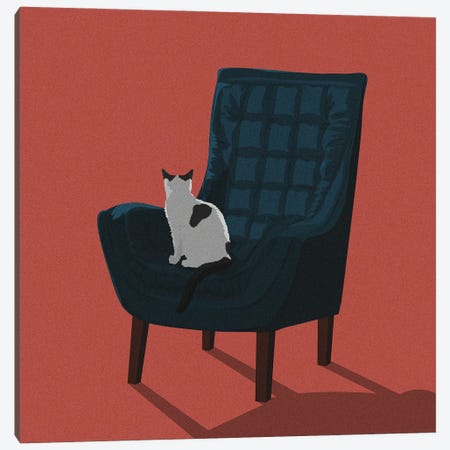Cats In Chairs VII Canvas Print #ACU19} by Artcatillustrated Canvas Art Print