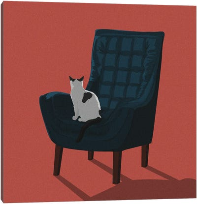 Cats In Chairs VII Canvas Art Print