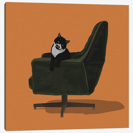 Cats In Chairs IX Canvas Print #ACU20} by Artcatillustrated Canvas Wall Art