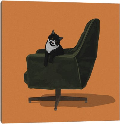 Cats In Chairs IX Canvas Art Print