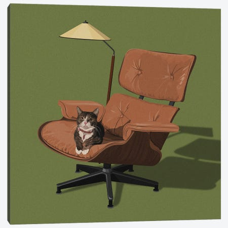 Cats In Fancy Chairs I Canvas Print #ACU21} by Artcatillustrated Canvas Wall Art