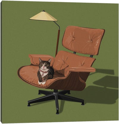 Cats In Fancy Chairs I Canvas Art Print