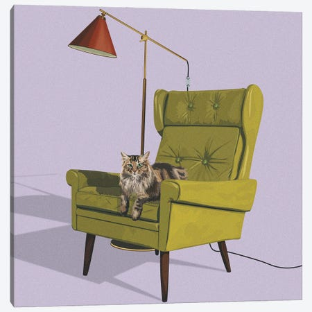 Cats In Fancy Chairs II Canvas Print #ACU22} by Artcatillustrated Canvas Art