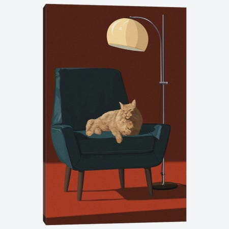 Cats In Fancy Chairs III Canvas Print #ACU23} by Artcatillustrated Canvas Wall Art